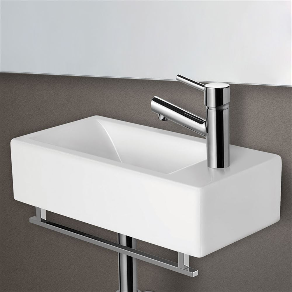Tremendous Alfi White Porcelain Wall Mount Small Rectangular Bathroom Sink Download Free Architecture Designs Grimeyleaguecom