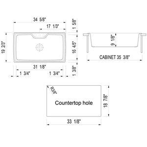 ALFI Brand 19.66-in x 34.625-in Biscuit Single-Basin Standard Drop-In 1-Hole Residential Kitchen Sink