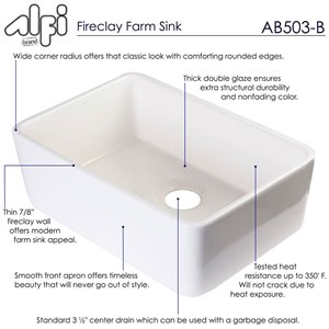 ALFI Brand 23.5-in x 16-in Biscuit Single-Basin Drop-In Apron Front Farmhouse Residential Kitchen Sink