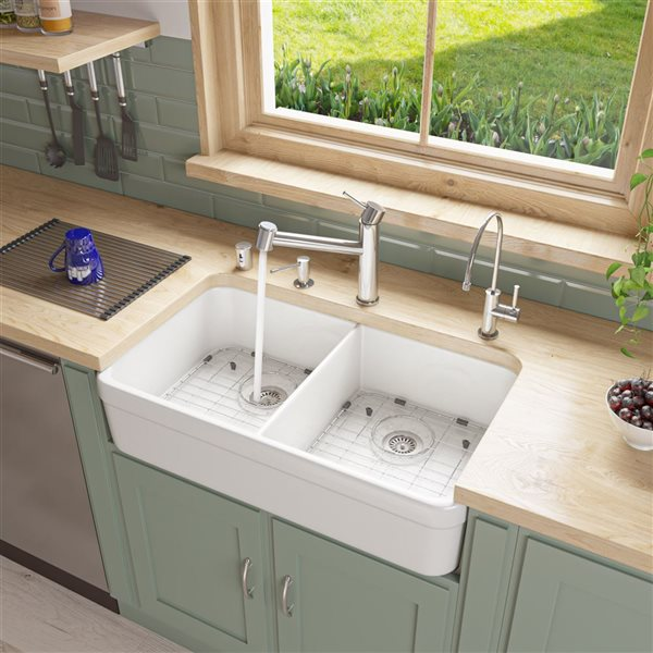 Alfi Brand 32 In X 17 75 In White Double Basin Drop In Apron Front Farmhouse Residential Kitchen Sink Lowe S Canada