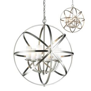 Z-Lite Aranya 23.82-In x 26.25-In Brushed Nickel 6-Light Pendant