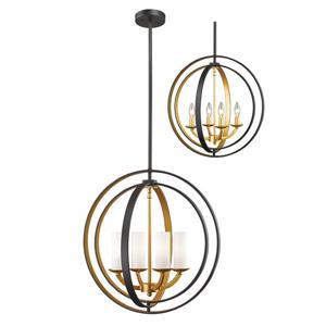 Z-Lite 19.88-in Bronze and Gold Ashling 4 Light Pendant