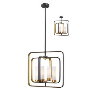 Z-Lite Aideen 16.5-in x 65-in Bronze and Gold 4-Light Pendant