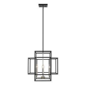 Z-Lite Titania 4-Light Pendant - 18-in - Black and Brushed Nickel