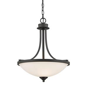 Z-Lite Bordeaux 17.12-in Bronze 3 Light Pendant