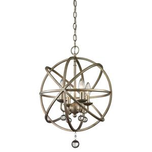 Z-Lite Acadia 16-in x 21-in Antique Silver 4-Light Pendant