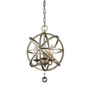 Z-Lite Acadia 12-In x 17-In Antique Silver 3-Light Pendant