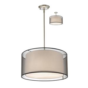 Z-Lite Sedona 3-Light Convertible pendant - 18-in - Brushed Nickel