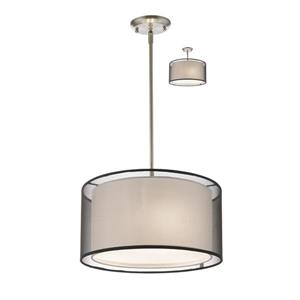 Z-Lite Sedona 3-Light Convertible pendant - 15-in - Brushed Nickel