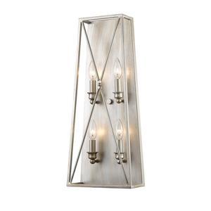 Z-Lite Antique Silver 4 Light Tressle Wall Sconce