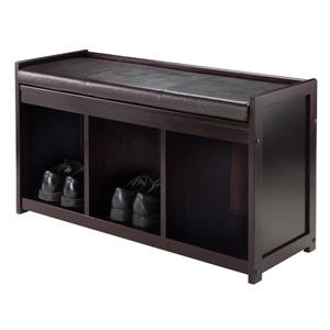Winsome Wood Addison 37.40-in Espresso Wood 3 Cubby Storage Indoor Bench