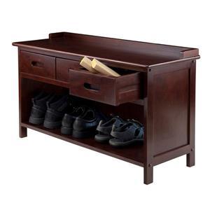 Winsome Wood Adriana 38.27-in Antique Walnut 3 Drawers Indoor Storage Bench