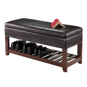 Winsome Wood Monza 20.47-In x 42.52-In x 15.75-In Espresso Faux Leather Cushion Wooden Indoor Storage Bench