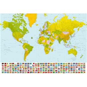 """Brewster Wallcovering Map of the World Wall Mural - 100"""" x 144"""""""