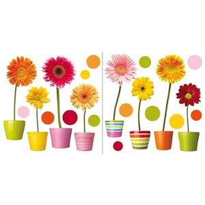 WallPops Gerberas Flowers Window Decals - 24.4-in x 12.2-in