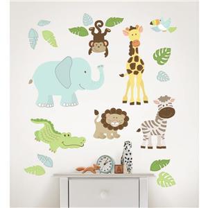WallPops Safari Buddies Wall Art Kit - 39-in x 34.5-in