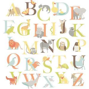 WallPops Alphabet Zoo Wall Art Kit - 39-in x 34.5-in