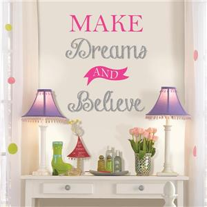 WallPops Make Dreams and Believe Wall Quote - 19.75-in x 17.25-in