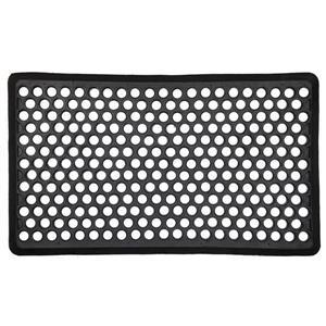 Technoflex Beveled Ring 18-in x 30-in Black Rubber Door Mat