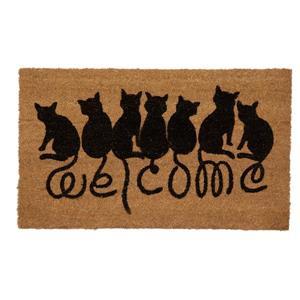 Technoflex 18-in x 30-in Welcome Cats Printed Coco Door Mat