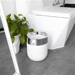 Umbra Chrome/White Bathroom Waste Basket