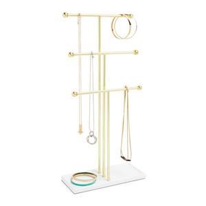 Umbra Trigem 18.88-in x 4-in x 9-in White Brass Jewelry Stand