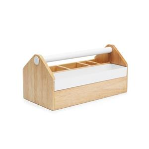 Umbra Toto 5.13-in x 5.25-in x 10-in Medium Box White Natural Jewelry Box
