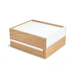 Umbra Stowit 4.63-in x 8.88-in x 10.25-in White Natural Jewelry Box