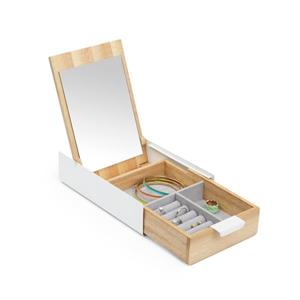 Umbra Reflexion 2.25-in x 5.63-in x 9.25-in White Natural Storage Jewelry Box