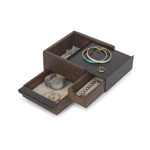 Umbra Mini Stowit 4.45-in x 6.10-in x 6.75-in Black Walnut Jewelry Box