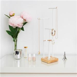 Umbra Acro 6.5-in x 6.5-in x 20.5-in White Natural Jewelry Stand