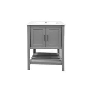 GEF Lena Vanity with Porcelain Top, 24-in Grey