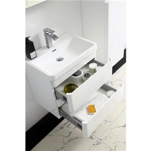 GEF Scarlett Vanity with Acrylic Top, 24-in White