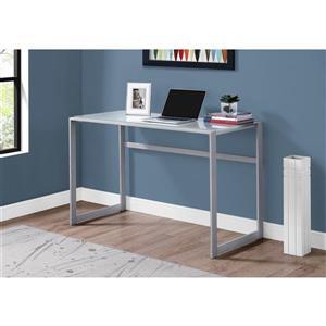 Monarch  30-in x 48-in Silver Computer Desk