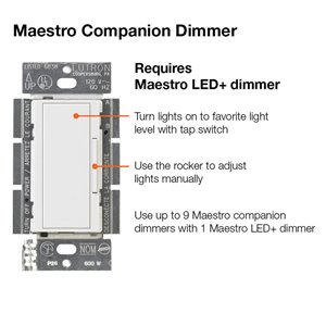 Lutron Maestro 1-1/4-Amp White Digital Dimmer with Remote Control