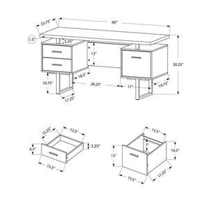 Monarch  30.25-in x 60-in Dark Taupe Computer Desk