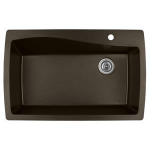 Karran 34-in Brown Quartz Large Single Bowl Kitchen Sink