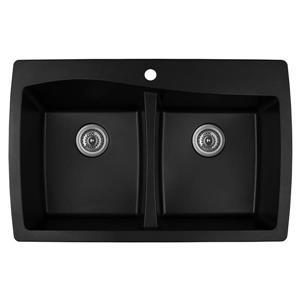 Karran Black Quartz 34-in Double Kitchen Sink