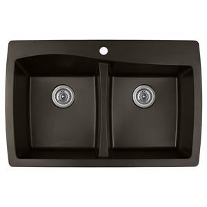 Karran Brown Quartz 34-in Double Kitchen Sink