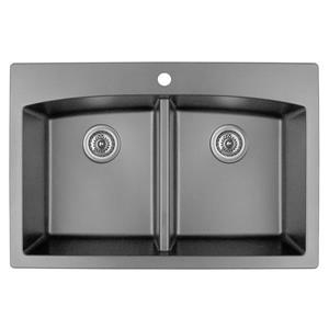 Karran Gray Quartz 33-in Double Kitchen Sink