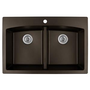 Karran Brown Quartz 33-in Double Kitchen Sink