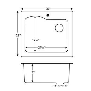 Karran 25-in Brown Quartz Large Single Bowl Kitchen Sink with Single Hole