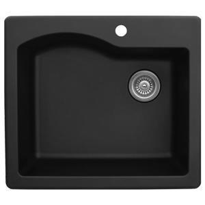 Karran 25-in Black Quartz Kitchen Sink