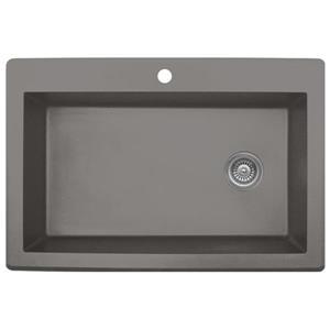 Karran 33-in Concrete Quartz Large Single Bowl Kitchen Sink with Single Hole