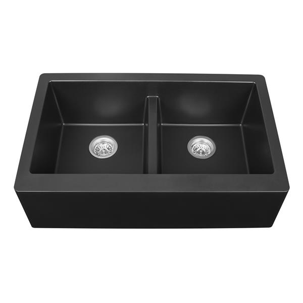 Karran Black Quartz 34 In Double Apron Front Kitchen Sink Lowe S Canada