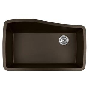 Karran 33.5-in Brown Quartz Undermount Large Single Bowl Kitchen Sink