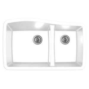Karran 33.5-in White Quartz 1.5 Kitchen Sink