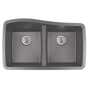 Karran Concrete Quartz 33.5-in Double Kitchen Sink