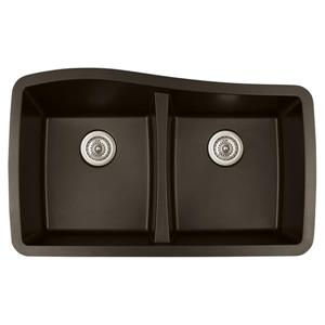 Karran Brown Quartz 33.5-in Double Kitchen Sink