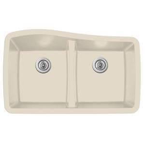 Karran Bisque Quartz 33.5-in Double Kitchen Sink